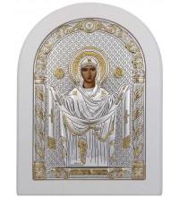 Покрова Пресвятої Богородиці - ікона зі сріблом, в білому дереві (192-W)