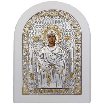 Покрова Пресвятой Богородицы - икона с серебром, в белом дереве (192-W)