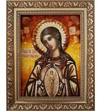 Помощница в родах - икона Божией Матери, икона из янтаря (ар-79)