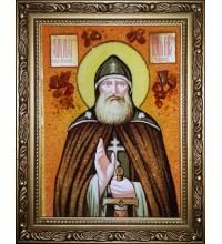 Преподобный Илия Муромец, Печерский - икона из янтаря (ар-286)