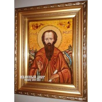 Преподобный Иоанн Хозевит - качественная икона из янтаря, ручная работа (ар-171)