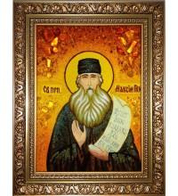 Преподобный Максим Грек - икона из янтаря, ручная работа (ар-244)