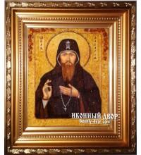 Преподобный Захария, Печерский постник - Красивая икона из янтаря, ручная работа (ар-37)