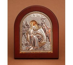 Пророк Ілля - Ікона з Греції з сріблом та позолотою (GOLD)