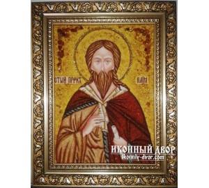 Пророк Илия - Икона ручной работы из янтаря (ар-108)