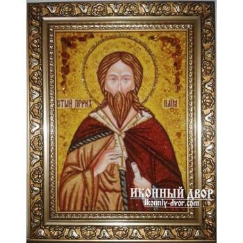 Пророк Ілля - Ікона ручної роботи з бурштину (ар-108)
