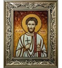 Роман Кесарийский - икона из янтаря (ар-328)