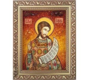 Роман Сладкопевец - икона с янтарем (ар-335)