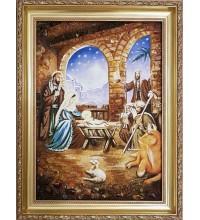 Рождество Христово - Икона из янтаря, ручной работы (ар-300/1)