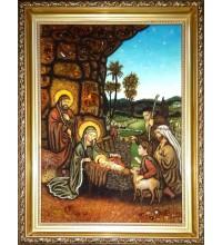 Різдво Ісуса Христа - Ікона з бурштину ручної роботи (ар-300)