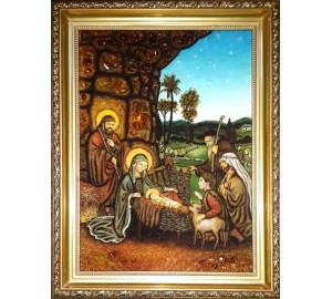Рождество Иисуса Христа - Икона из янтаря, ручной работы (ар-300)