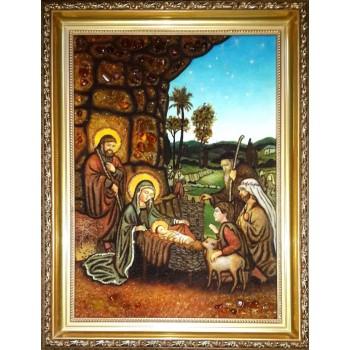 Різдво Ісуса Христа, пастухи у Ісуса - Ікона з бурштину ручної роботи