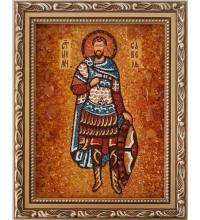 Савел Персиянин - именная икона из янтаря, ручная работа (ар-249)