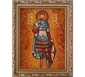 Савел Персіянин - іменна ікона з янтаря, ручна робота (ар-249)
