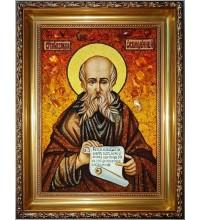 Савва Освященный - янтарная икона (ар-322)
