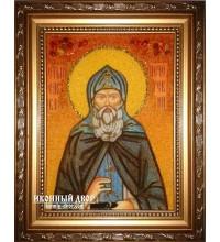Сава Печерський - ікона з бурштину ручної роботи (ар-191)
