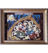 Семь отроков Ефесских - икона с янтарем, ручной работы (ар-61)