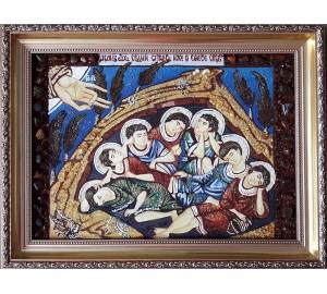 Сім отроків Ефесских - ікона з бурштином, ручної роботи (ар-61)