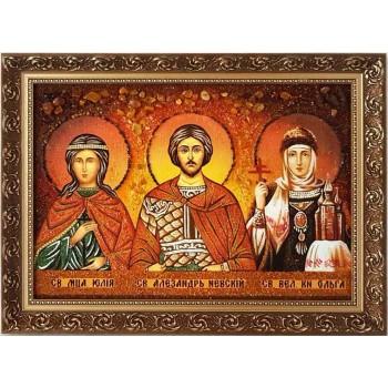Семейная икона с янтарем - Александр, Юлия, Ольга - Семейная икона из янтаря (ар-86)