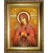 Семистрельная икона Богородицы - икона ручной работы, из янтаря (ар-269)