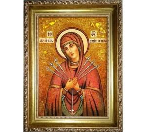 Семистрельная ікона Богородиці - ікона ручної роботи, з бурштину (ар-269)