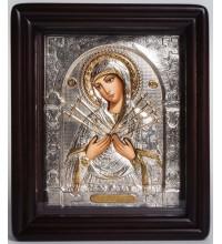 Семистрельная икона Богородицы - Писаная икона в окладе с серебром (хм-47)