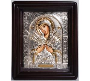 Семистрільна ікона Богородиці - писана ікона в окладі зі сріблом (хм-47)