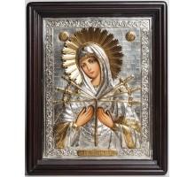 Семистрельная икона Божьей Матери - Писаная икона в серебряном окладе (хм-08)