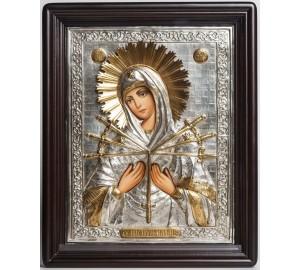 Семистрельная ікона Божої Матері - ікона Писана в срібному окладі (хм-08)