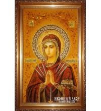 Семистрельная Икона Божией Матери - икона ручной работы, из янтаря (ар-10)