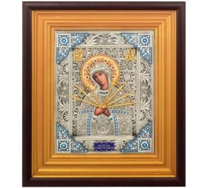 Семистрельная икона Божией Матери - великолепная икона c серебром (k-14)