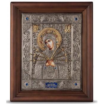 Семистрельная икона - красивая икона, в окладе с серебром (хм-63)