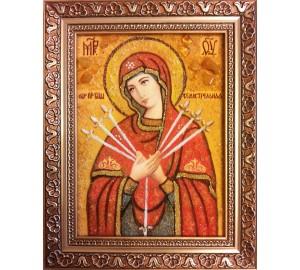 Семистрельная икона Пресвятой Богородицы - икона ручной работы, из янтаря (ар-239)