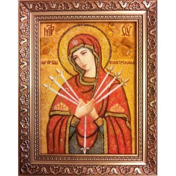 Семистрельная ікона Пресвятої Богородиці ікона ручної роботи, з бурштину (ар-239)