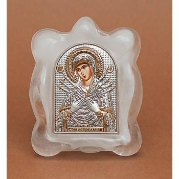 Семистрельная ікона Пресвятої Богородиці Ікона в муранском склі, срібло 925°, позолота (EK1MAG Семистрельная)