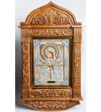Семистрельная икона Пресвятой Богородицы - писаная икона с серебром, в резном дубовом киоте (юл-29)