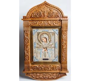 Семистрельная ікона Пресвятої Богородиці ікона писана з сріблом, в дубовому різьбленому кіоті (юо-29)