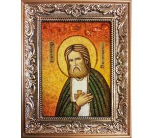 Серафим Саровський - ікона з янтаря (ар-152)