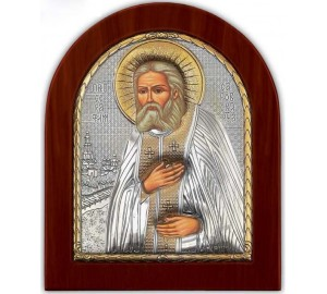 Серафим Саровский - Красивая Икона из Греции с серебром и позолотой (GOLD)