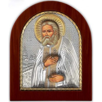 Серафим Саровський - Красива Ікона з Греції з сріблом та позолотою (GOLD)