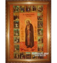 Серафим Саровский - Великолепная икона ручной работы из янтаря (ар-113)