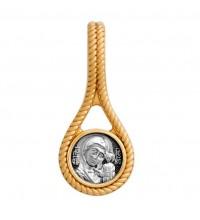 Серебряная нательная иконка, образок Казанская Божья Матерь (S-11)