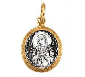 Серебряная нательная подвеска, образок Семистрельная Богородица (S-05)