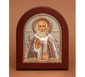Сергій Радонежський - Ікона з Греції з сріблом та позолотою (GOLD)