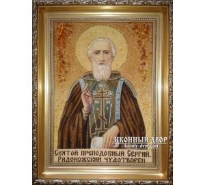 Сергий Радонежский - Янтарная икона, ручная работа (ар-130)