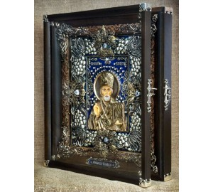 Шикарна ікона Святий Миколай - Ексклюзивна ікона ручної роботи (Ос-ЛНс13)