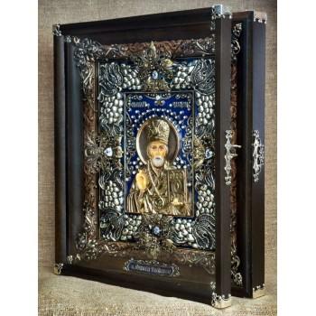 Шикарная икона Святой Николай - Эксклюзивная икона ручной работы (Ос-ЛНс13)