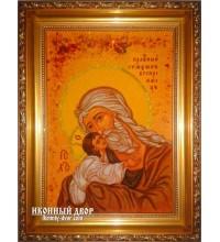 Симеон Богоприимец - ікона з янтаря, ручна робота (ар-187)