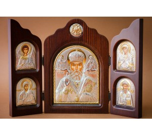 Складень Святой Николай - достойный складень с греческими иконами (ск-sn5)