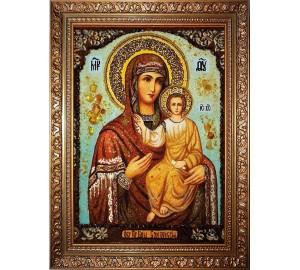 Смоленская икона Божьей Матери - икона с янтарем (ар-321)